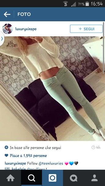 sweater white sweater jeans green jeans pants style
