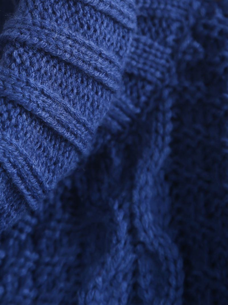 Blue High Neck Long Sleeve Cable Knit Sweater - Sheinside.com