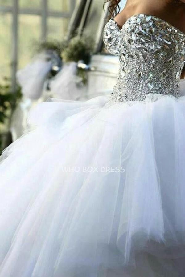 dress glamgerous wedding clothes crystal rhinestones tulle skirt wedding dress
