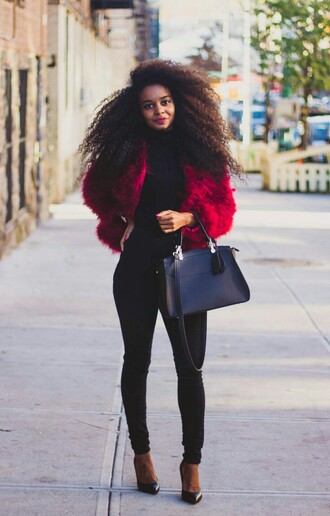coat red fluffy coat black bag