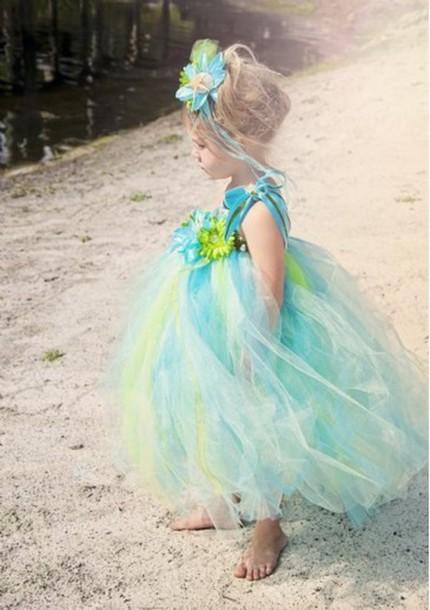 dress gradient color flower dress ball gown dress little girls' dress clothes short skirt organza dress blue dress handpiece