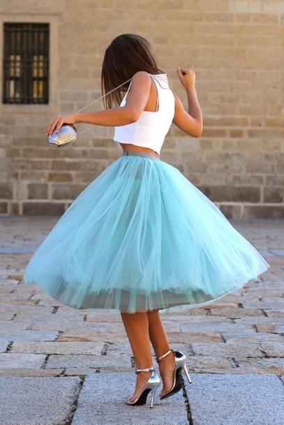 skirt blue skirt puffy puffy skirt