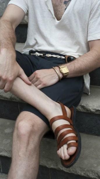 shoes sandals leather belt