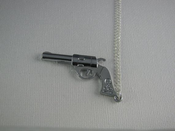 Pistol Revolver Necklace on 925 Sterling Silver by Davidflame