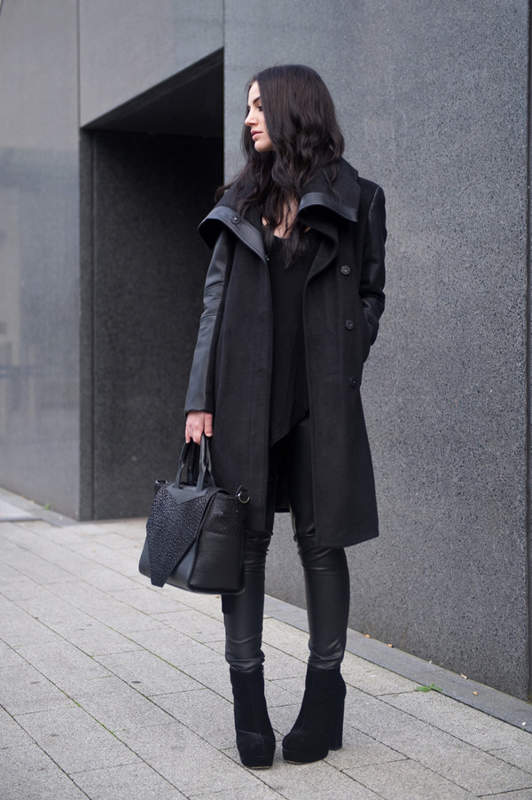 coat jacket black black bag shoes