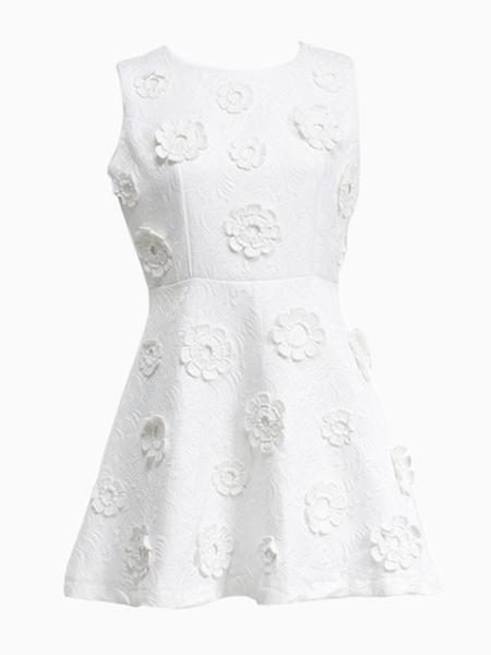 White Sleeveless High Waist Dress in Embossed Print | Choies