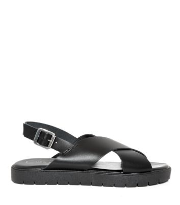 Black Leather Cross Strap Cleated Sole Sandals