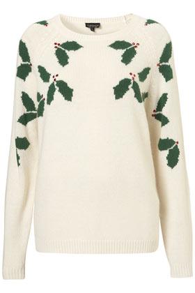 Knitted Xmas Holly Jumper - Topshop