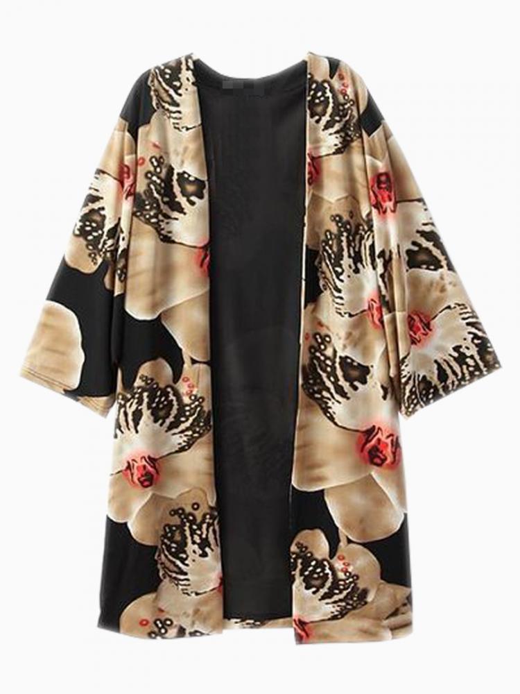Vintage Floral Longline Kimono Coat | Choies