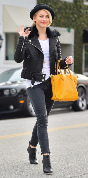 jeans julianne hough jacket hat ankle boots