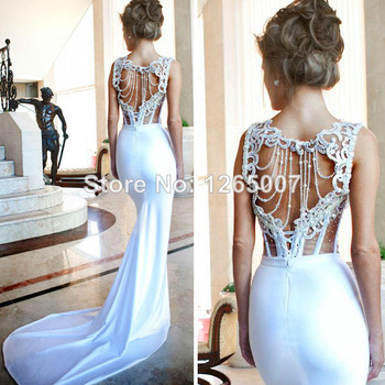 Aliexpress.com : Buy Square Neck Open Back Cut Out Silm Slit Side White Long Prom Dresses 2014 Backless Tight Fashion Special Occasion Dress from Reliable dress ballroom suppliers on SFBridal