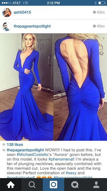 dress michael costello aurora gown blue