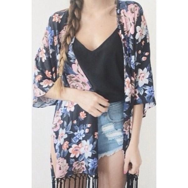 jacket kimono floral cardigan braid black shirt high waisted denim shorts silk blouse