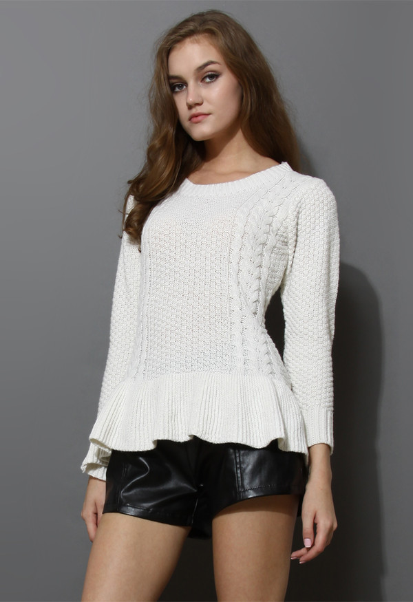 sweater frill hem kintted top off-white