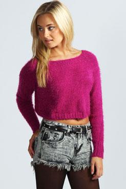 Camille Crop Fluffy Knit Jumper at boohoo.com
