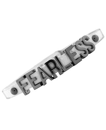 BCBGeneration Bracelet, Hematite-Plated White PVC Fearless Mini Affirmation Bracelet - Fashion Jewelry - Jewelry & Watches - Macy's