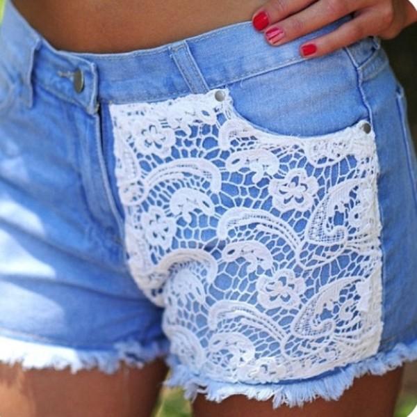 shorts lace denim denim shorts