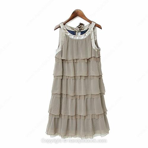 Light Coffee Scoop Sleeveless Tiered Chiffon Dress - HandpickLook.com