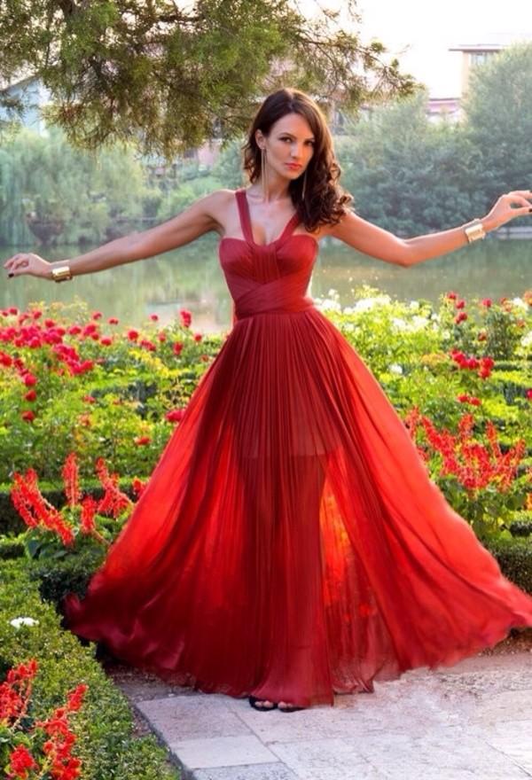 dress red maxi flowy