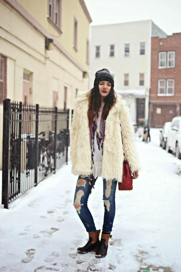 color me nana coat jeans scarf bag shoes hat
