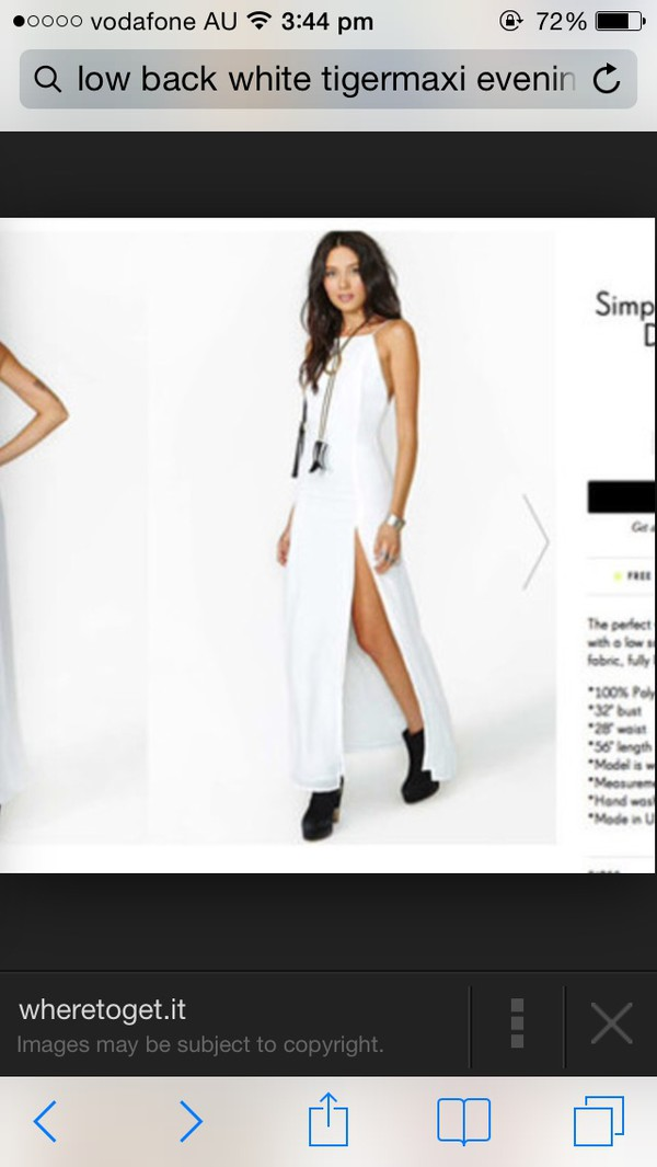 dress low back evening outfits long white
