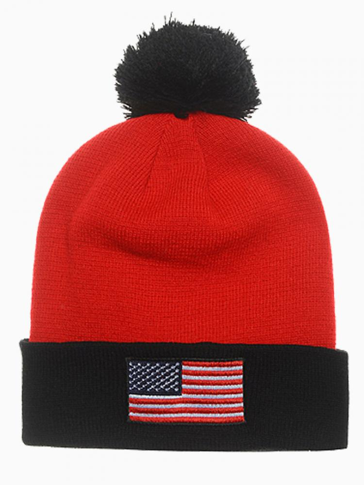 Red Contrast Color Beanie With Flag Embroidery   Choies