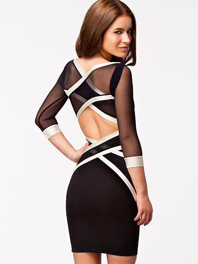 Mesh Wrap Strap Dress - Quontum - Svart/Creme - Robes De Soirée - Vêtements - Femme - Nelly.com La Mode En Ligne Sur Internet