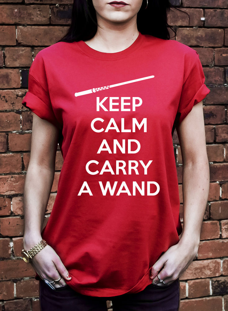 Keep Calm and Carry a Wand Tshirtr Harry Potter Inspired Magic Ron T Shirt J0363 | eBay