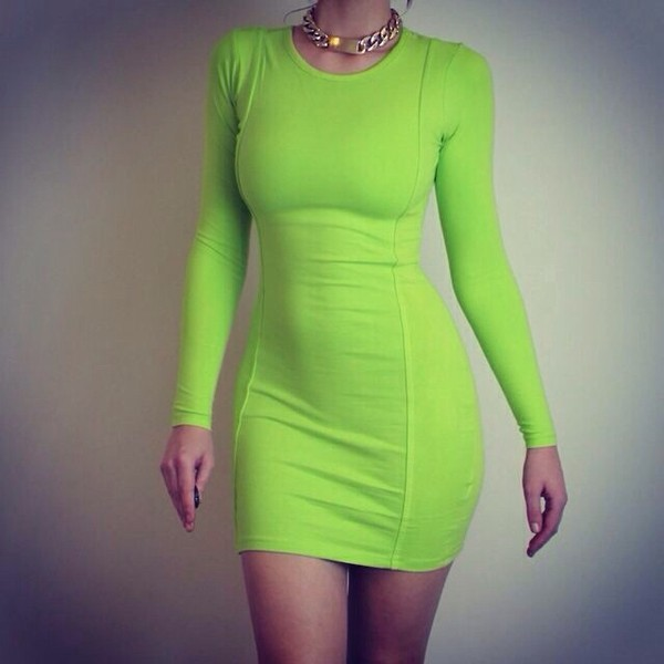 dress lime bodycon dress green dress green beautiful brunette body fashion party gold lime green dress party dress gold necklace neon dress long sleeve dress green and yellow