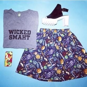 skirt space hipster shirt t-shirt crop tops shoes high heels platform shoes vintage 90s style 90s grunge grunge hippie galaxy print tank top
