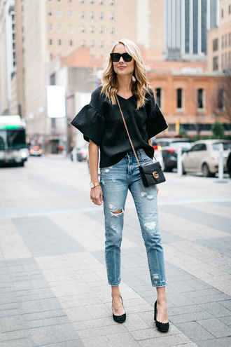 fashionjackson blogger top jeans shoes bag sunglasses jewels blouse black blouse gucci bag pumps theclosetheroes coat pants hat jacket