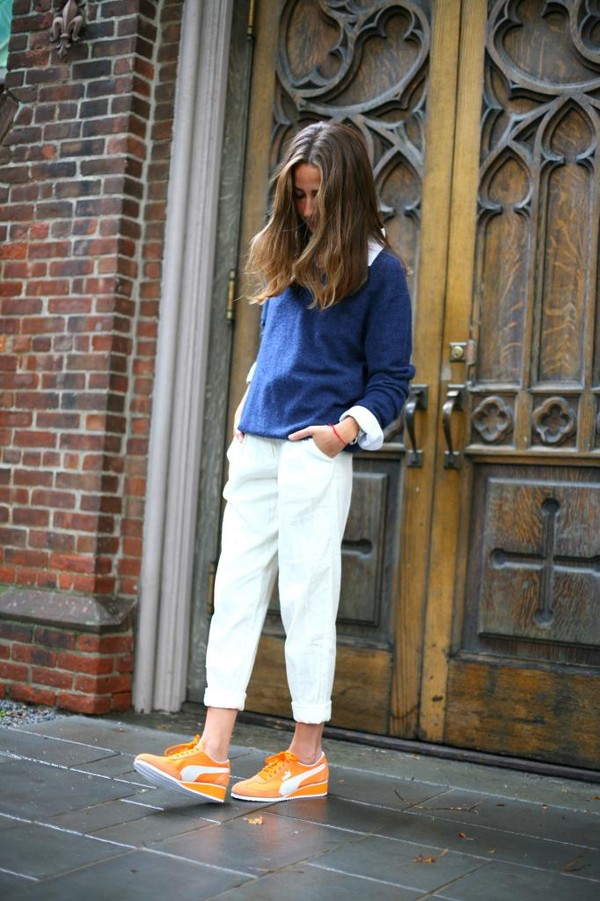 something navy pants sweater shoes