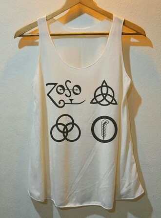 led zeppelin white tank top