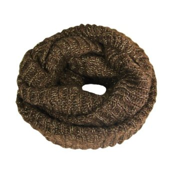 Amazon.com: Premium Winter Knit Infinity Scarf with Metallic Gold Threading - Brown: Clothing