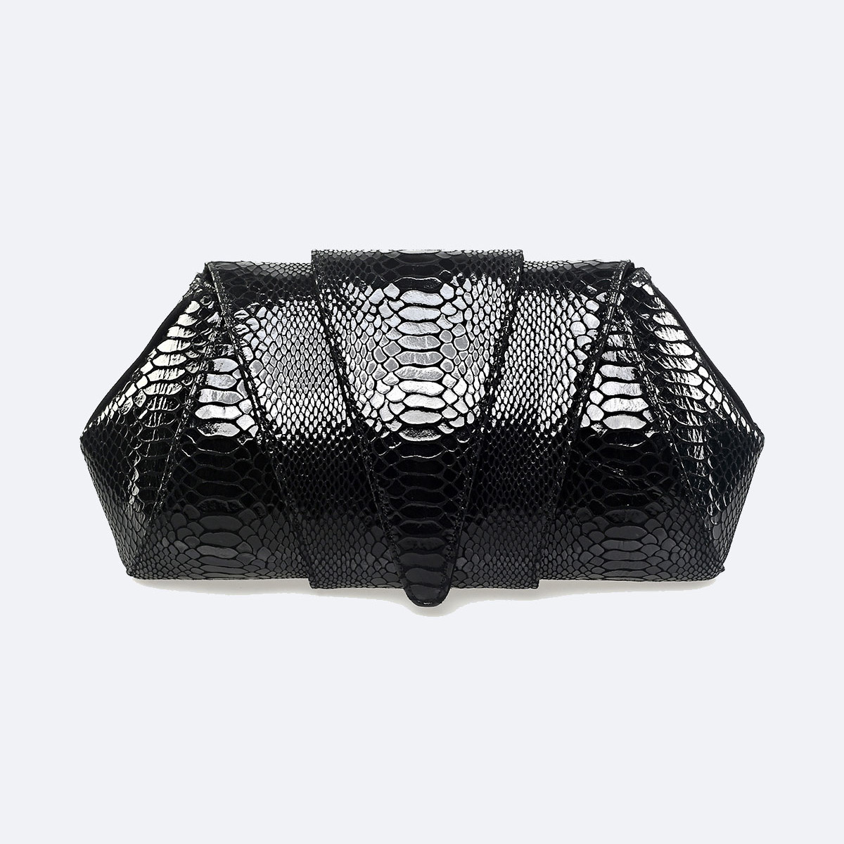 SOKA   Black Python Leather Clutch