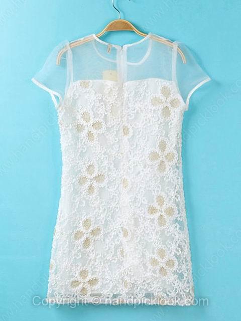 White Scoop Short Sleeve Back Zip Dress - HandpickLook.com