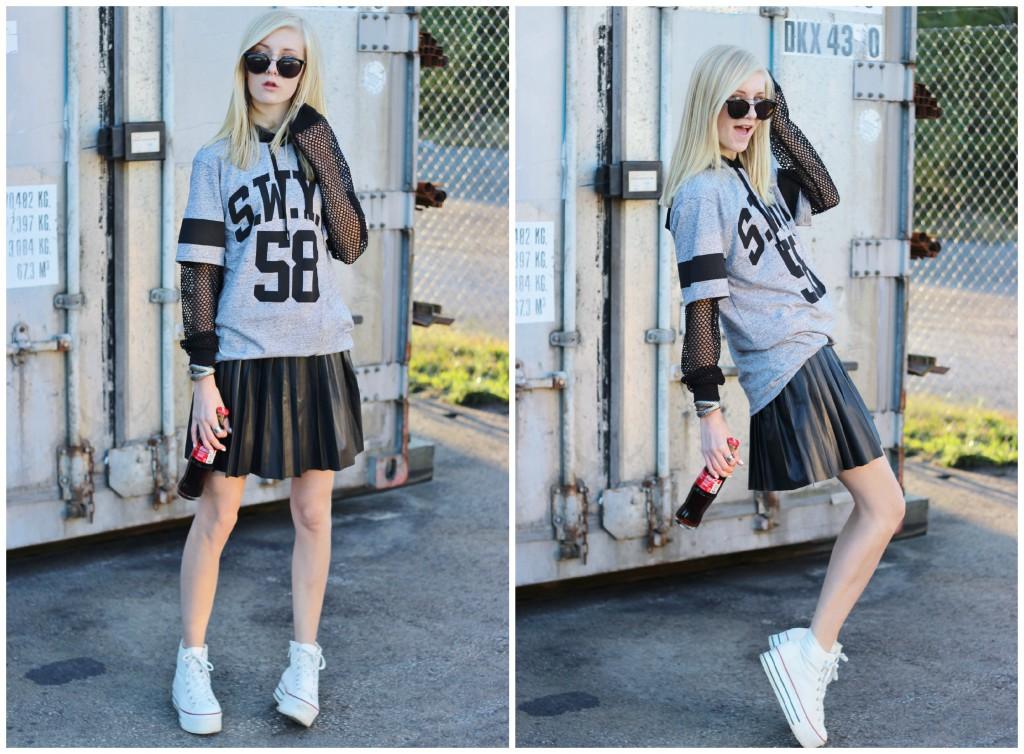 Black Leather Skirt   Choies