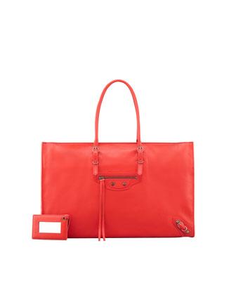 Balenciaga Papier Office Zip Leather Tote Bag, Rouge - Neiman Marcus