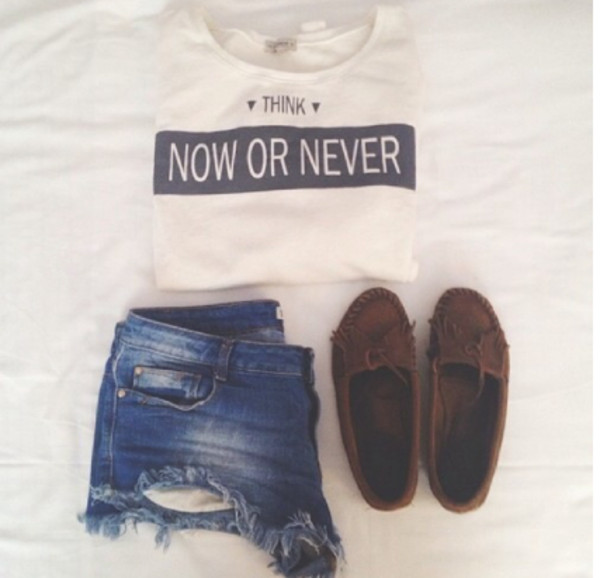 shirt quote on it shoes moccasins shorts t-shirt
