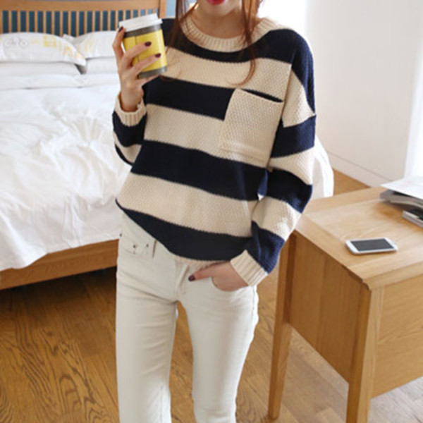 sweater sweet navy mixing color