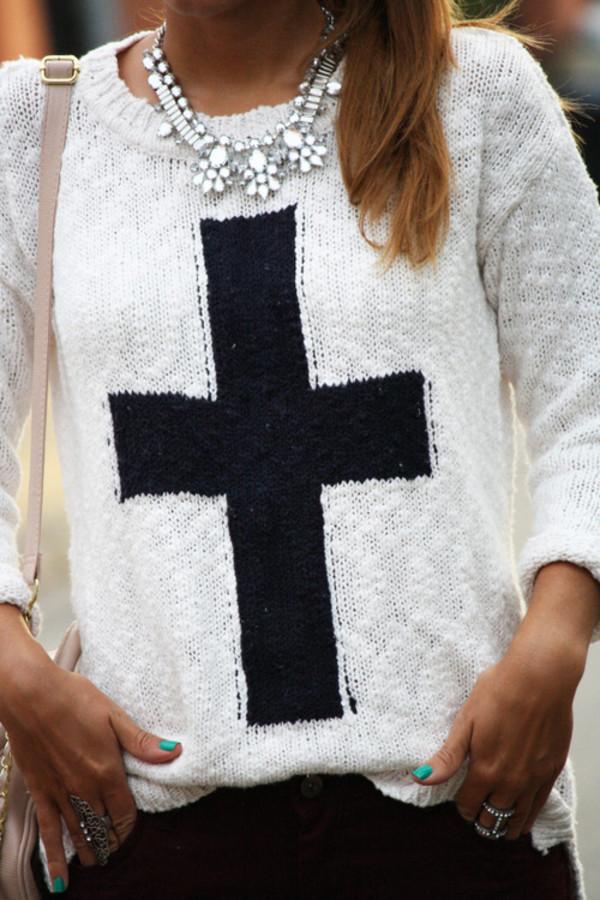 sweater cross black white knitwear cute clothes
