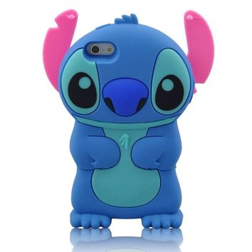 Modal Cute Movable Ear Flip Stitch & Lilo Silicone Cover Case for Iphone 5 (BLUE) on Wanelo
