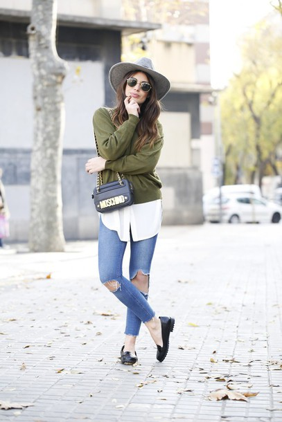 dulceida blogger sweater blouse hat moschino olive green ripped jeans loafers black loafers grey hat black hat