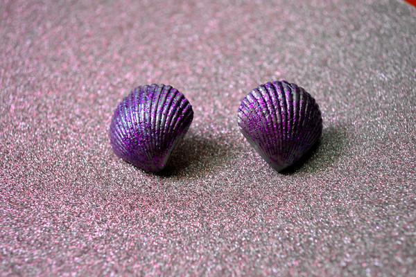jewels shell earrings mermaid earrings shell earrings glitter purple pastel stud earrings post earrings