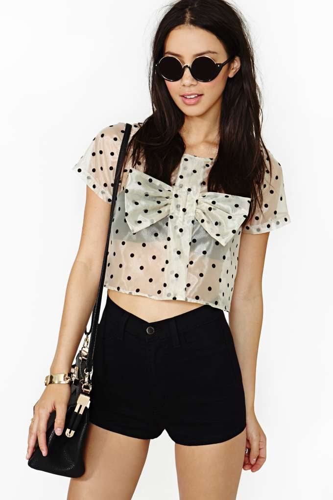 Sweet Dot Crop Blouse  in  Clothes Tops at Nasty Gal