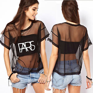 2013 Women's Paris Letter Seethrough Gauze Round Neck Oversize Loose Top T Shirt | eBay