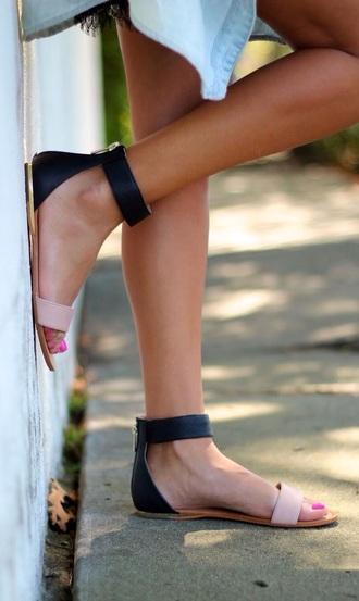 shoes black colorblock nude sandals cute sandals summer sandals nude ankle strap minimalist shoes