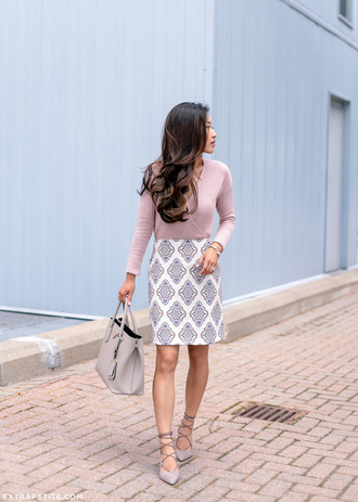extra petite blogger jewels jacket pink top long sleeves high waisted lace up flats grey bag office outfits date outfit