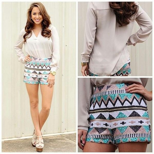 shorts tribal pattern High waisted shorts