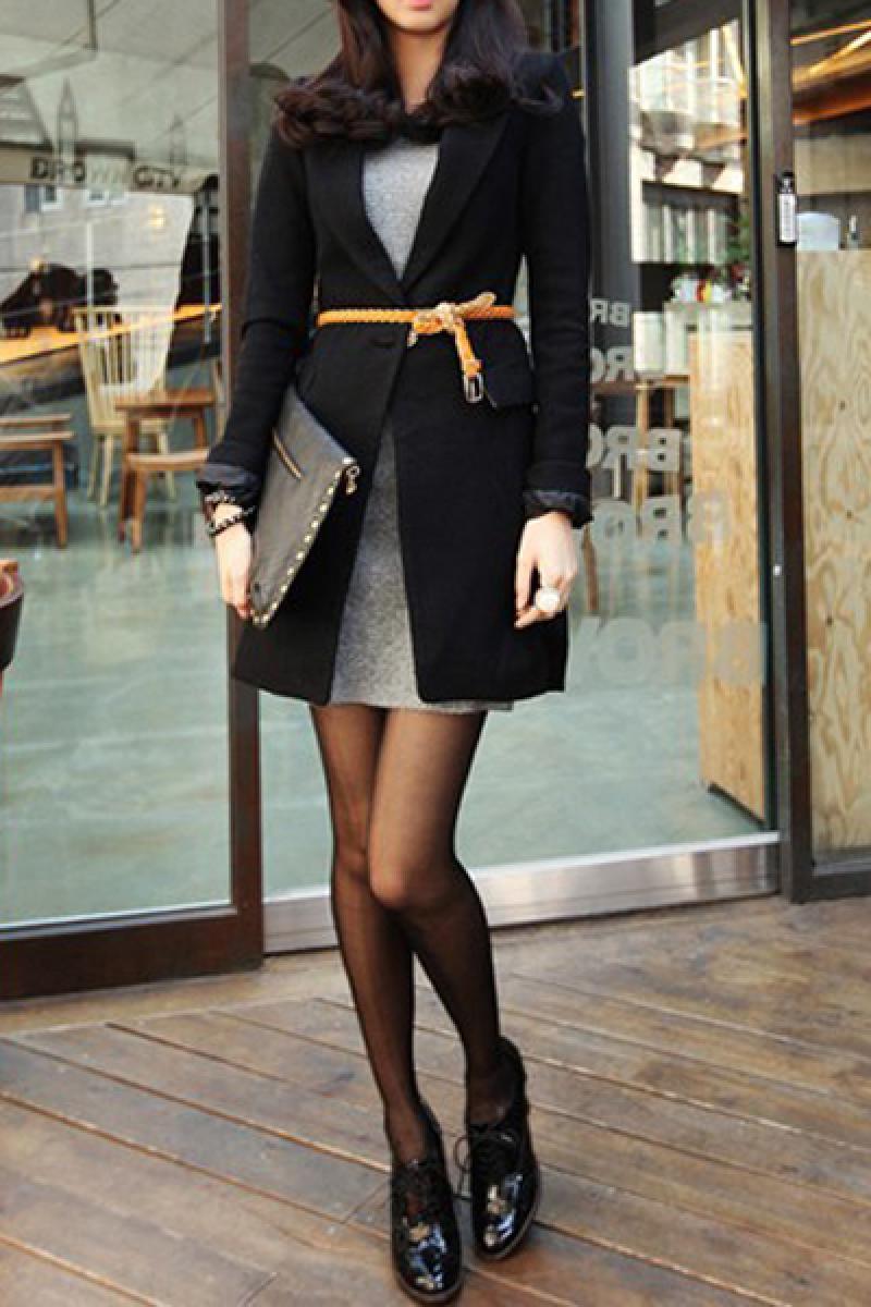 Euroamerican Black Long Section Slim Tailored Overcoat,Cheap in Wendybox.com